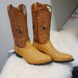 Laredo Handmade Ostrich Leather 10.5 Cowboy Boots